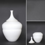 Double bubble vase - height 25 cm/ base width 9,5 cm, total height with spout 38 cm