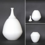 Teardrop vase - 1 height 25 cm, inside depth 14 cm/ 2 height 25 cm, inside depth 10 cm, total height with spout 36 cm