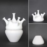 Tulip vase - 1 spout vase : height 19 cm/ base width 18 cm, 2 base vase : height 14,5 cm/ base width 18,5 cm - total height 33,5 cm